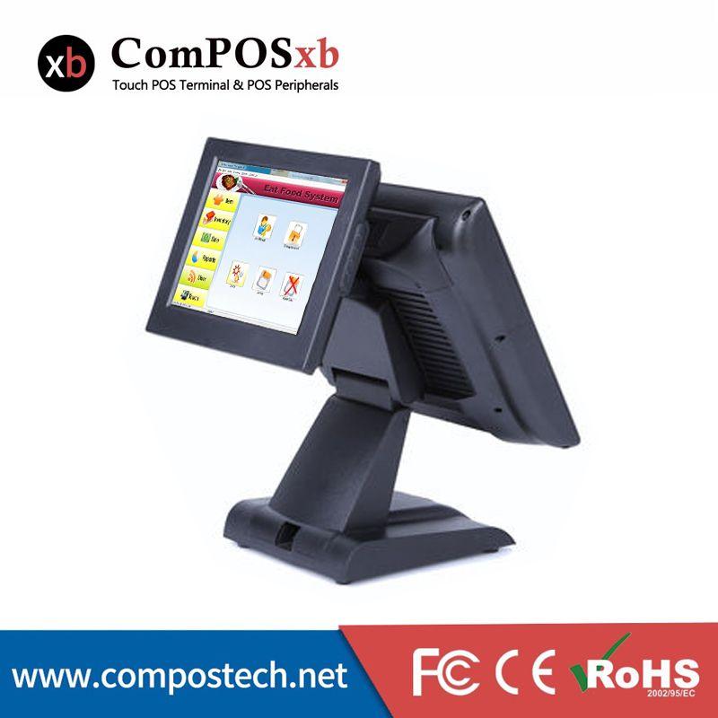 Pos System Supermarkt 15 Zoll Dual Display Touch Computer Doppel Bildschirm Alle In Einem Kassensystem Restaurant Registrierkasse