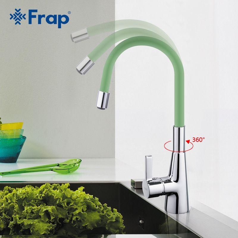 Frap Новое поступление 7-цвет силикагель нос любой направление вращения Кухня кран холодной и горячей воды смеситель torneira Cozinha f4153