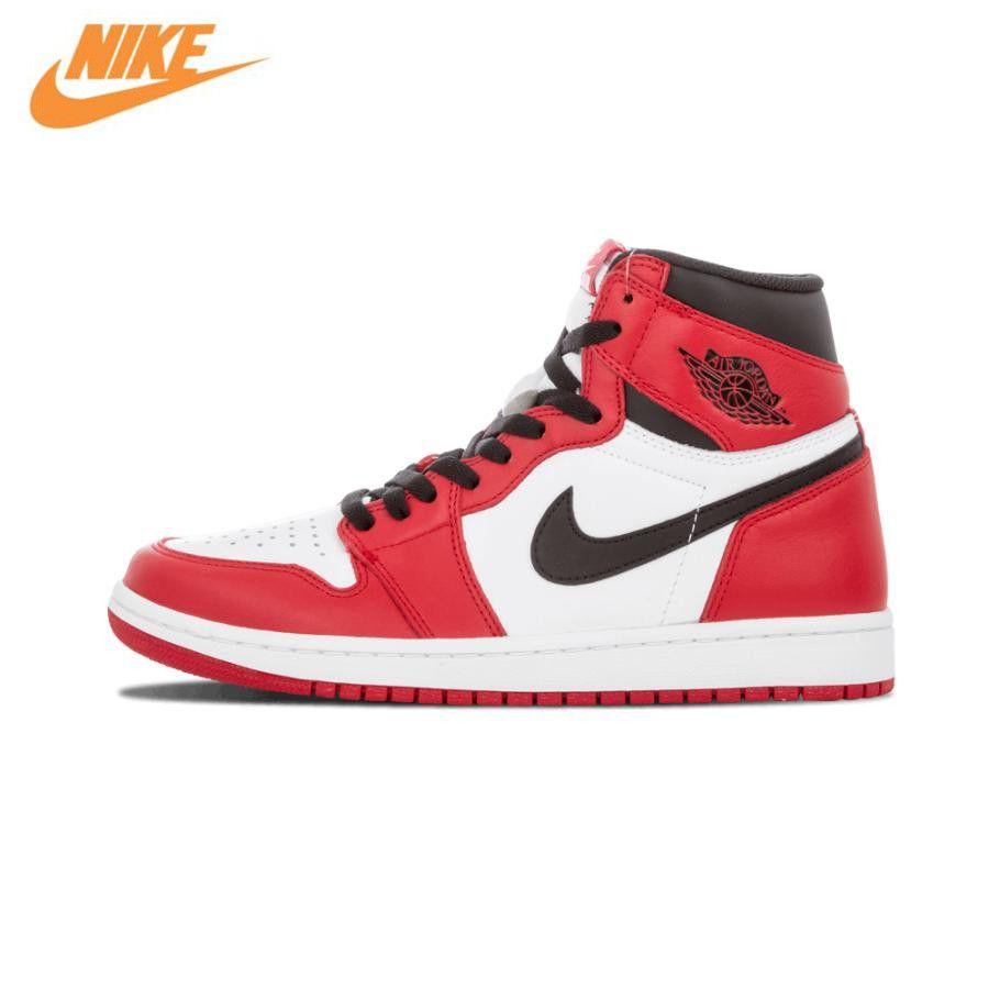 Nike Air Jordan 1 Retro High OG Чикаго дышащая Для Мужчин's Баскетбольные кеды спортивные Спортивная обувь кроссовки 575441-101