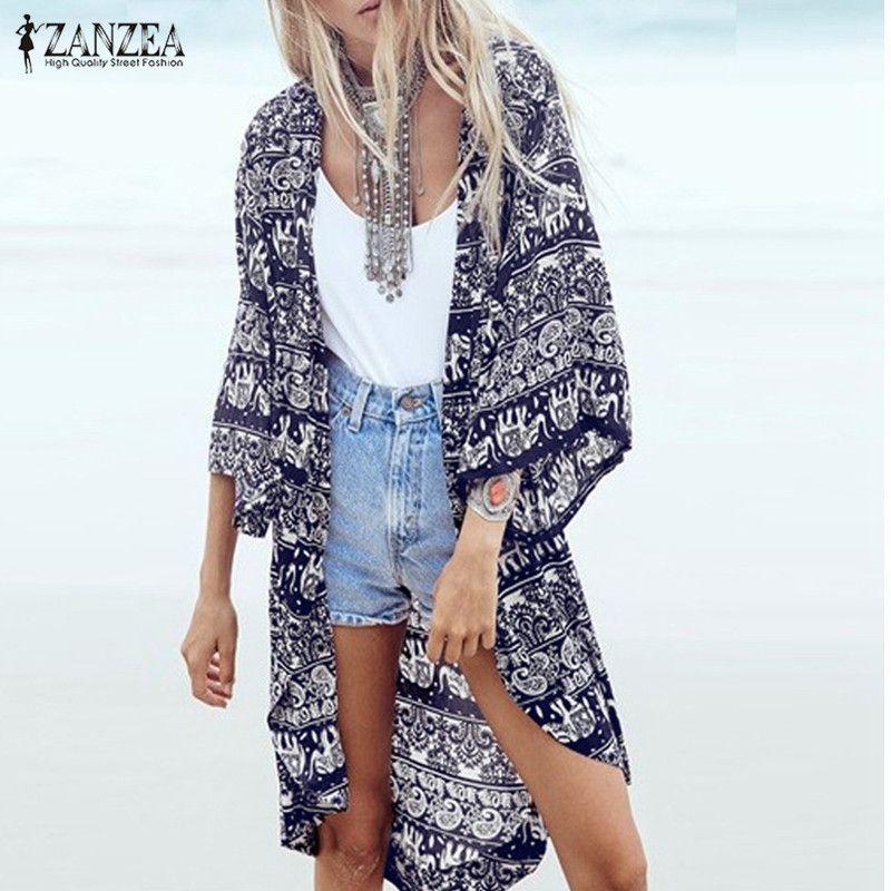 ZANZEA 2018 <font><b>Women</b></font> Boho Kimono Cardigan Summer Blouse Floral Print 3/4 Sleeve Casual Long Vintage Shirt Tops Cover Up Plus Size