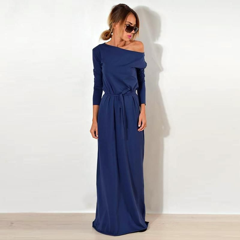 Women Maxi Party <font><b>Dress</b></font> One Shoulder Long Sleeve Causal Robe Long Loose <font><b>Dresses</b></font> Femme Vestidos WS3744C