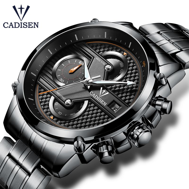 Cadisen Hot Watch Men Top Brand Luxury Sport Fashion Casual Quartz Mens Watches Stainless Steel Waterproof Mans Timer Wristwatch