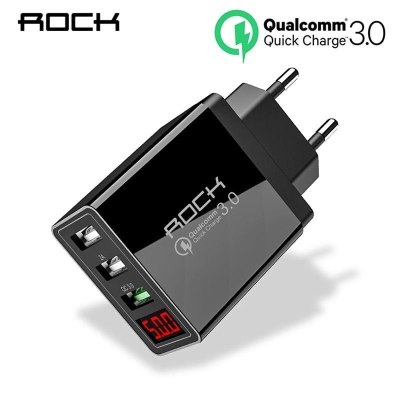 ROCK Quick Charge 3.0 Phone Charger USB 30W QC3.0 Led Light Display QC Turbo Fast Charging For iPhone Xiaomi mi 9 Huawei P30 Pro