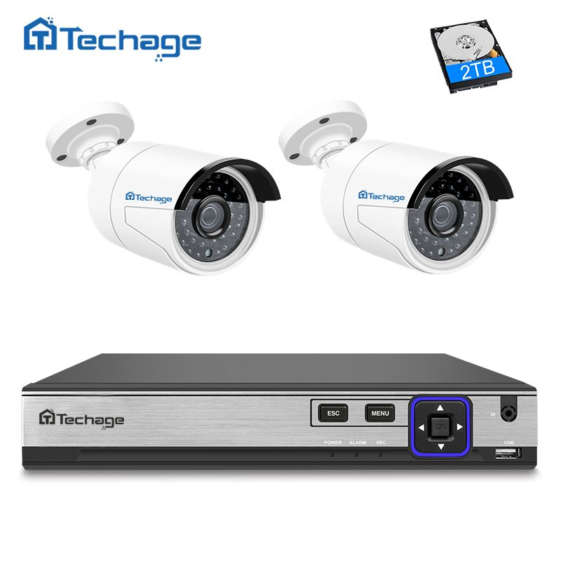 Techage H.265 4MP POE CCTV System 4CH NVR Kit 2PCS Hi3516D OV4689 IP Camera IR Night Vision Outdoor Security Surveillance System