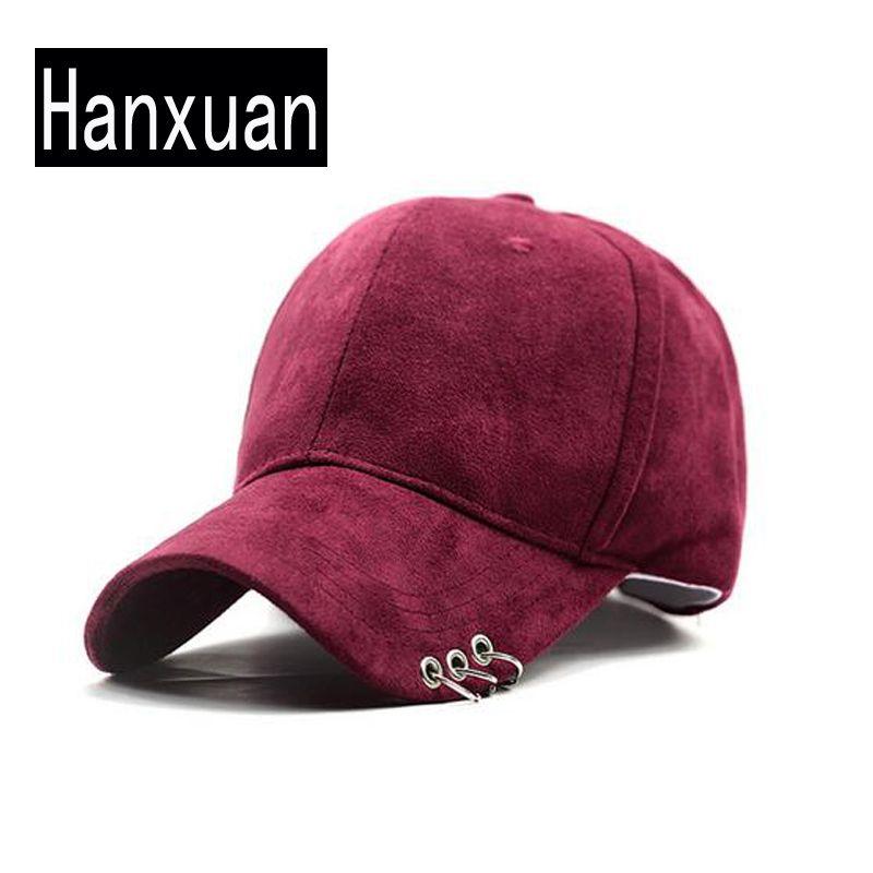 2016 Mujeres 3 Anillos Curved Tapas Hombres Hiphop Ocasional Sombrero Color sólido de Invierno Chica Cloth Curva Cap Gorra de Béisbol Del Snapback Hombre