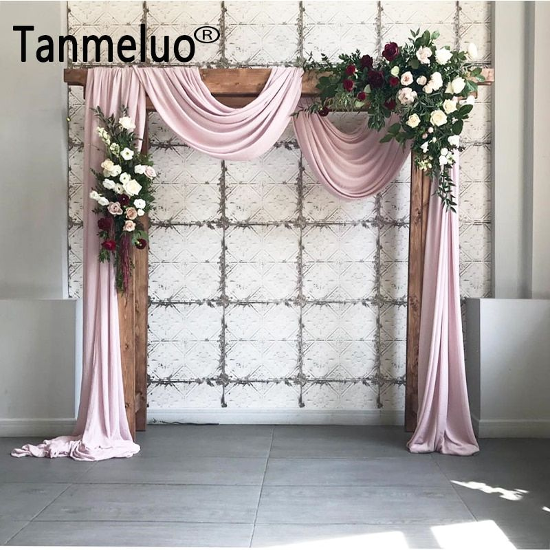 1.4*6M Solid color terylene fabric wedding arch draping fabric voile arbor drapes for outdoor wedding ceremony party curtains