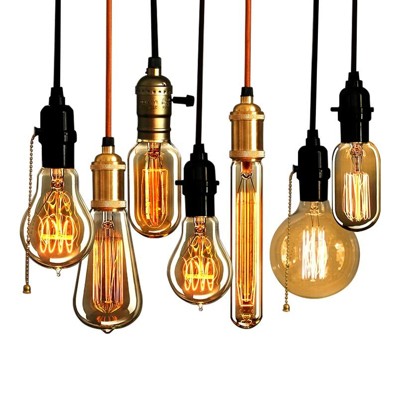 Retro Vintage Pendant Light LED E27 220V HangLamp loft Industrial Incandescent Bulbs Filament 40W Edison Light Bulb Lamps