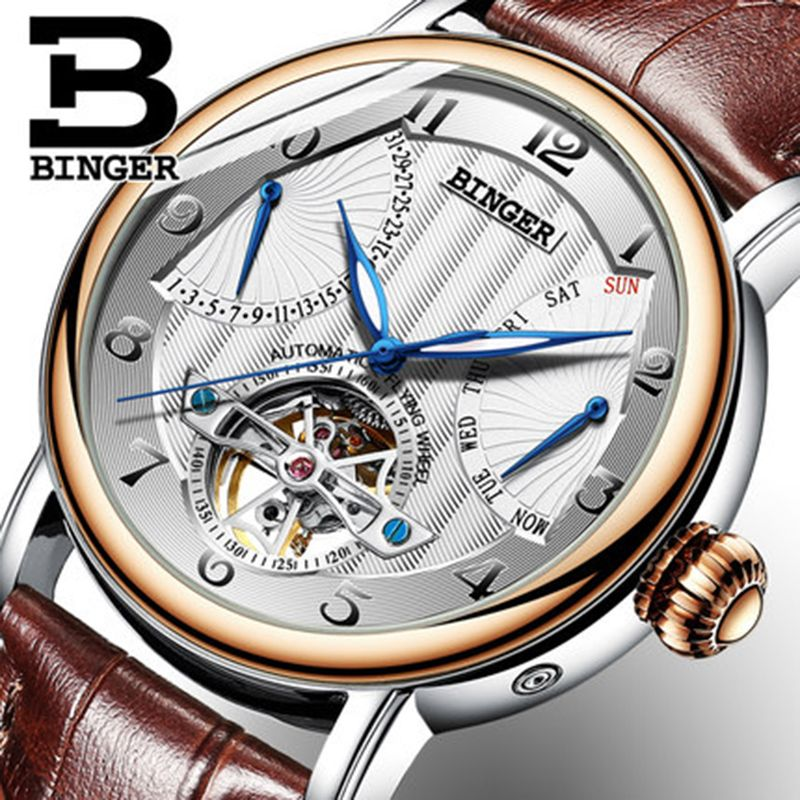 Genuine Luxury BINGER Brand men automatic mechanical self-wind sapphire watches calendar waterproof leather strap Hollow