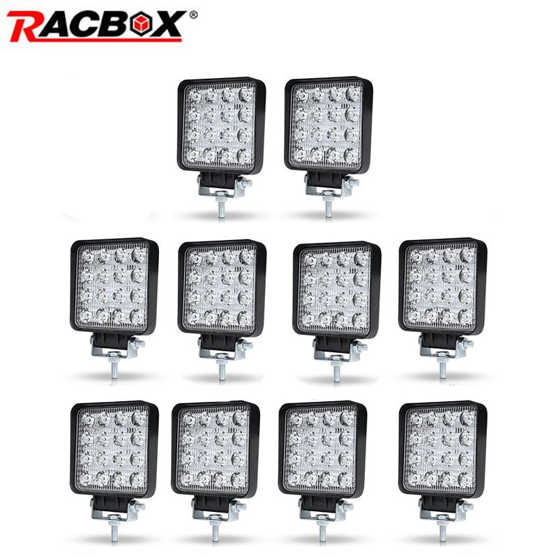 10pcs 4 inch 48 42W Offroad LED Work Light Spotlight Flood Spot Beam Drive Lamp for JEEP UAZ 4x4 Car 4WD Boat SUV ATV Motorcycle