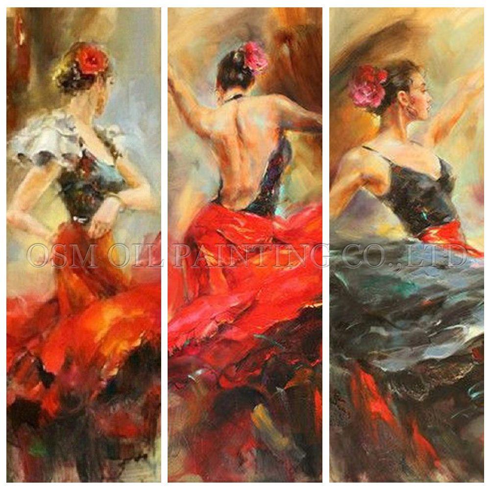 Высокая навыки Книги по искусству ist ручной работы впечатление испанский Костюмы для фламенко танцор картина маслом на холсте красивой сте...
