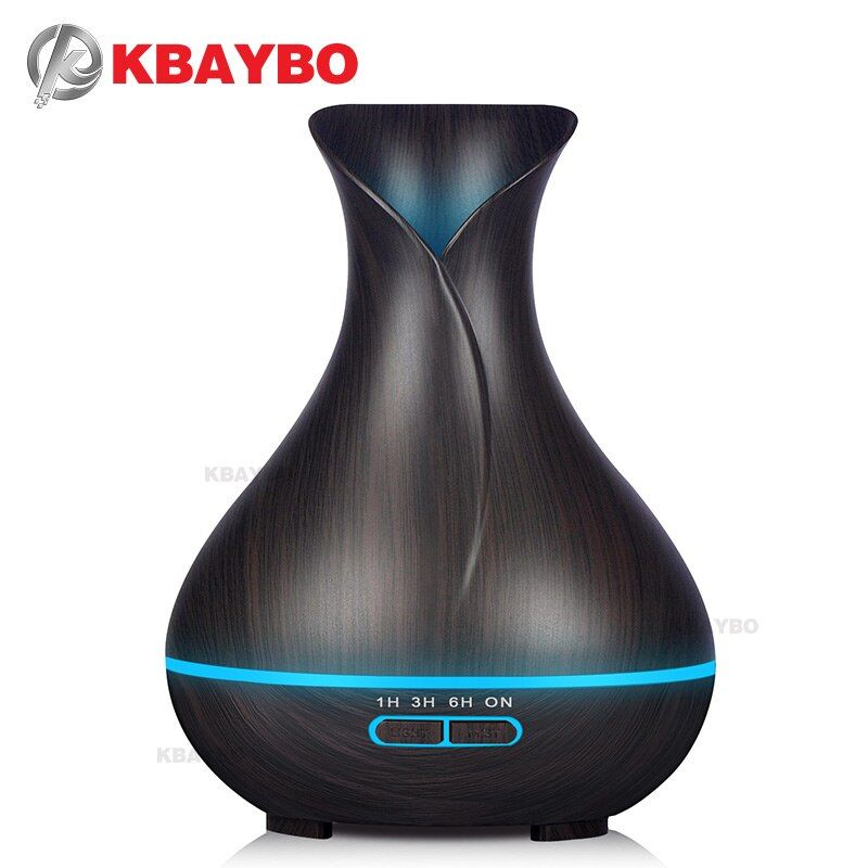 400ml Essential Oil Diffuser Dark Wood Grain Ultrasonic Aroma Cool Mist Humidifier for Office Bedroom Baby Room Study Yoga Spa
