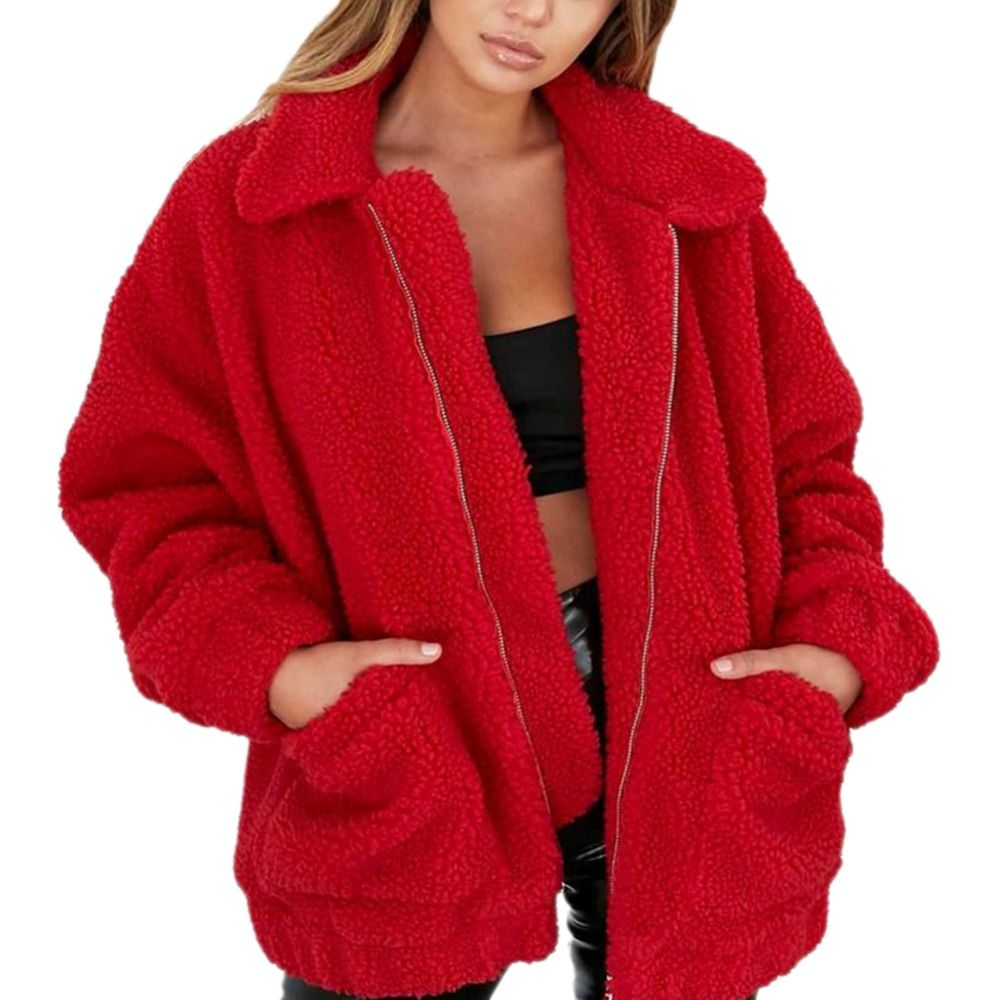 Fashion Lapel Sweatshirt Fleece Fur Coat 2018 Women Autumn Winter Warm Soft Jacket Thick Plush Zipper Overcoat Short Outerwear