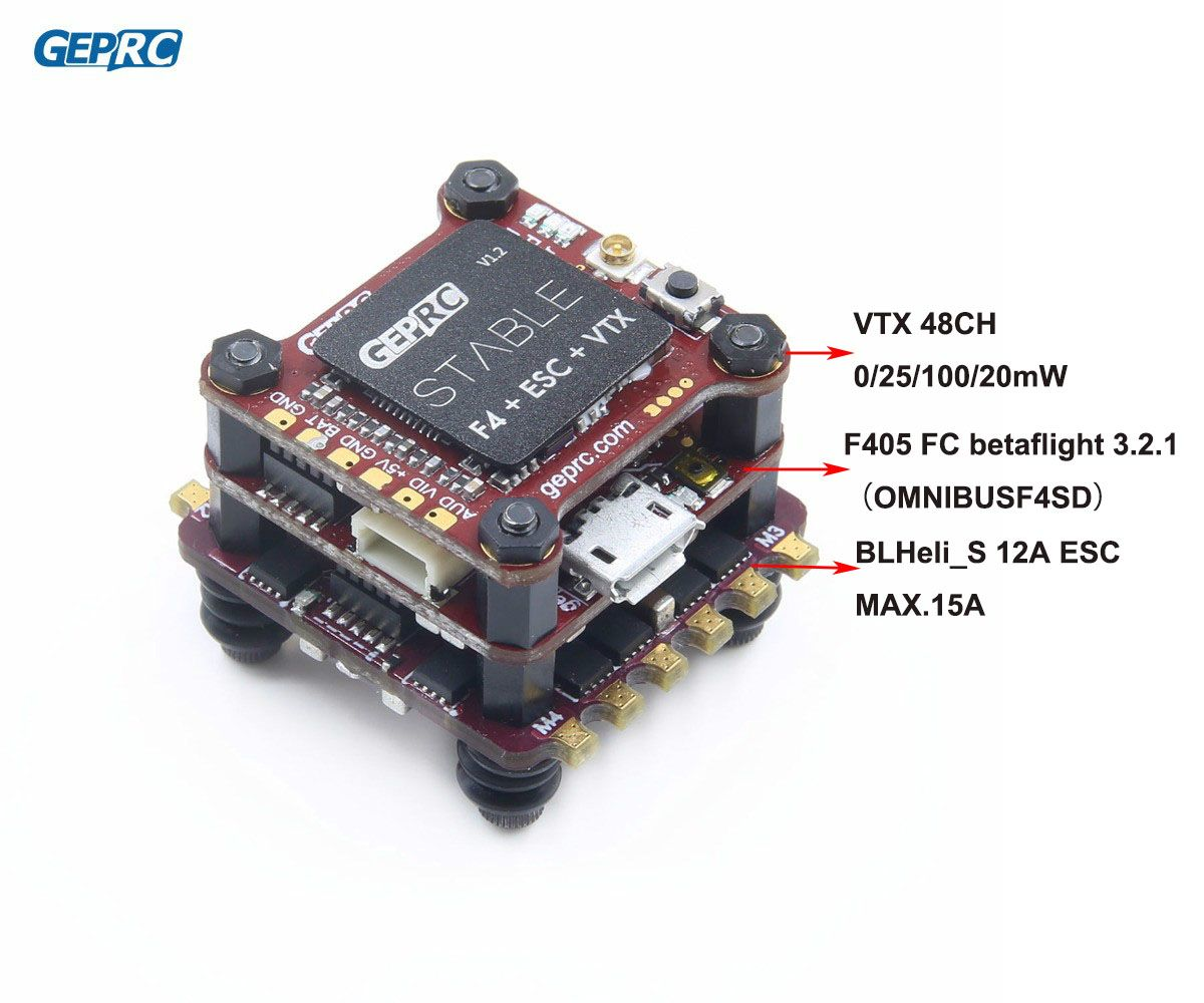 GEPRC Stable F4 Mini Fly Tower F4 Flight Control Betaflight+ 12A/20A BLHELI-S 4in1 ESC+ 48CH 200mW VTX for micro Drone FPV