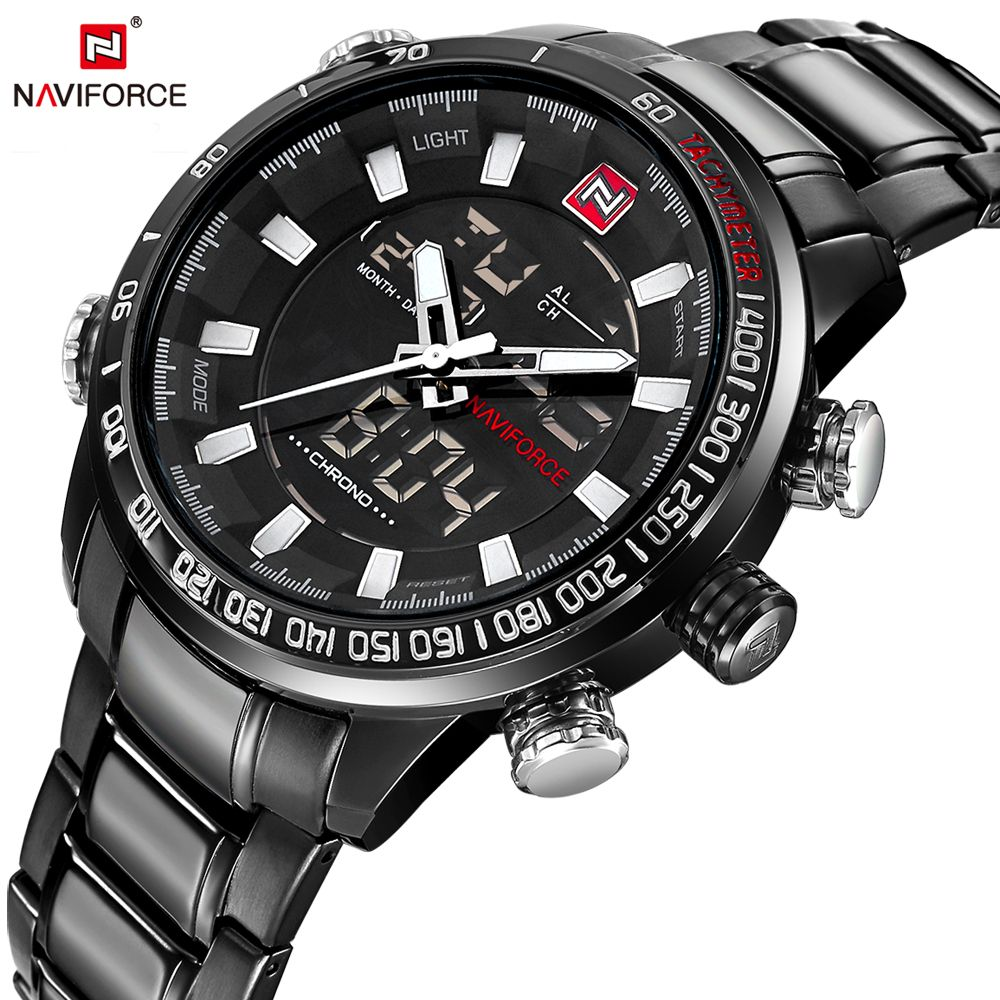 NAVIFORCE Luxury Brand Men's Sport Watches Men Dual Display LED Digital Waterproof Full Steel Quartz Watch Man Clock+origin box