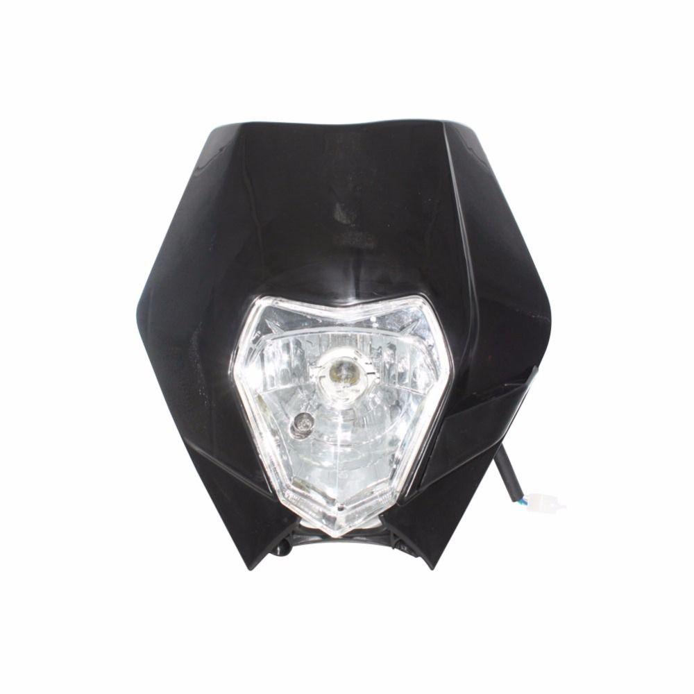 Motorcycle Dirt Bike Motocross Super moto Universal Enduro Headlight fairing W/ H4 Bulb For KTM SX F EXC XCF SMR Headlamp Black