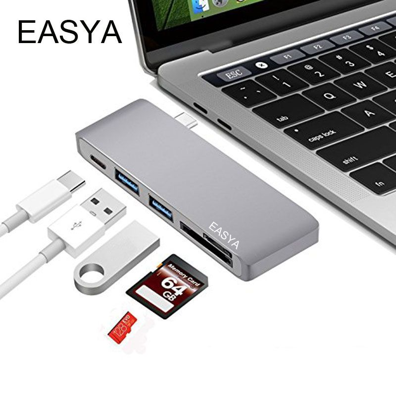 EASYA USB Type-C Hub 5-en-1 USB C Hub Adaptateur Hub 3.0 USB Splitter Combo Lecteur de Carte avec USB 3.0 Ports PD pour MacBook Pro