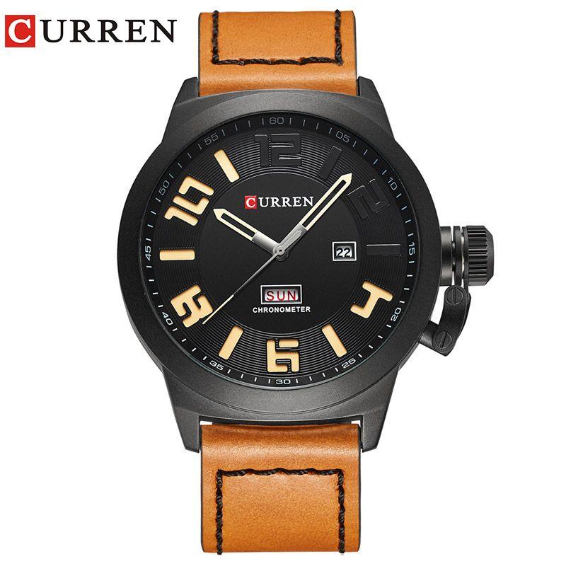 Curren Watches 2017 watch men top brand luxury relogio masculino Quartz Wristwatch leather band 8270