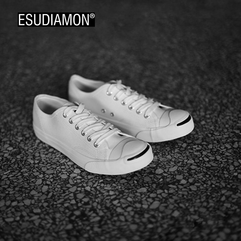 ESUDIAMON New Style Summer Men Canvas Shoes Fashion Breathable Lace Up Flats unisex Shoes Smile Casual Man Vulcanized  Shoes