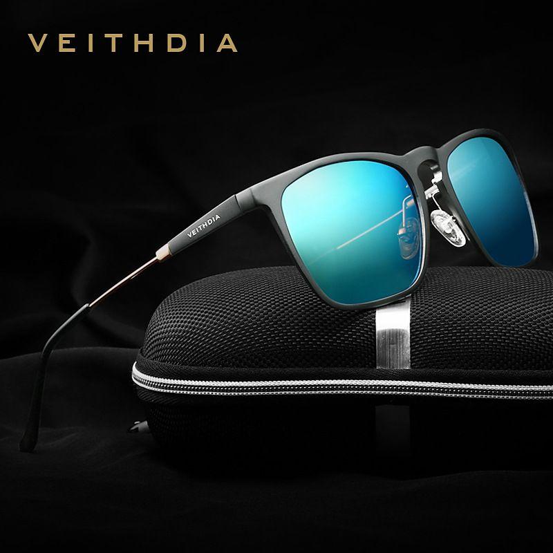 VEITHDIA Mens Square Retro Aluminum Sunglasses Polarized Blue Lens Vintage Eyewear Accessories Sun Glasses For Men/Women 6368