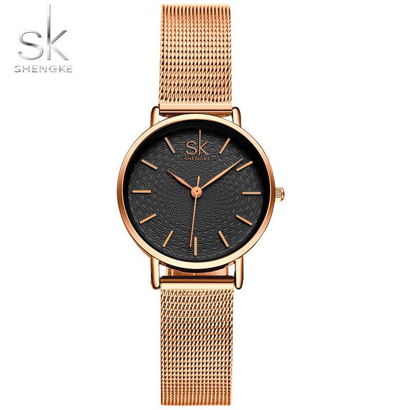 Sk/новый модный бренд Для женщин золотые наручные Часы Милан ул оснастки роскошных женских украшений кварцевые часы женские наручные часы ...