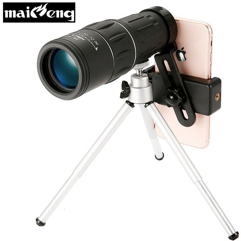 Professional 10X42 HD Vision Monocular High power Telescope Portable for Camping Bird-watching with Smartphone holder and Tripod