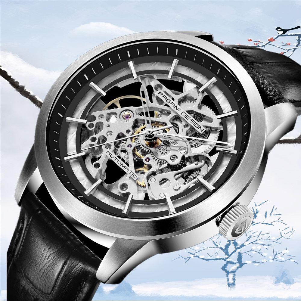 PAGANI DESIGN Neue Mode Luxus Marke Leder Uhr Automatische Männer Mechanische Skeleton Uhren Relogio Masculino erkek kol saati