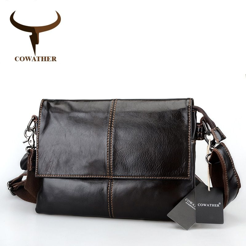 COWATHER cow genuine leather messenger bags for men cowhide crossbody handbag big capacity envelope bags fashion male handbags