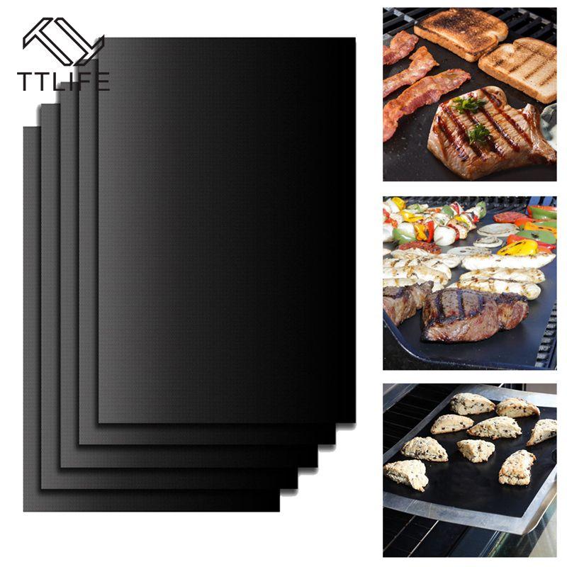 TTLIFE 5 teile/satz Wiederverwendbare BBQ-Grill Matte Pad Blatt Heizplatte Tragbaren Easy Clean Außen Nonstick Backformen BBQ Zubehör