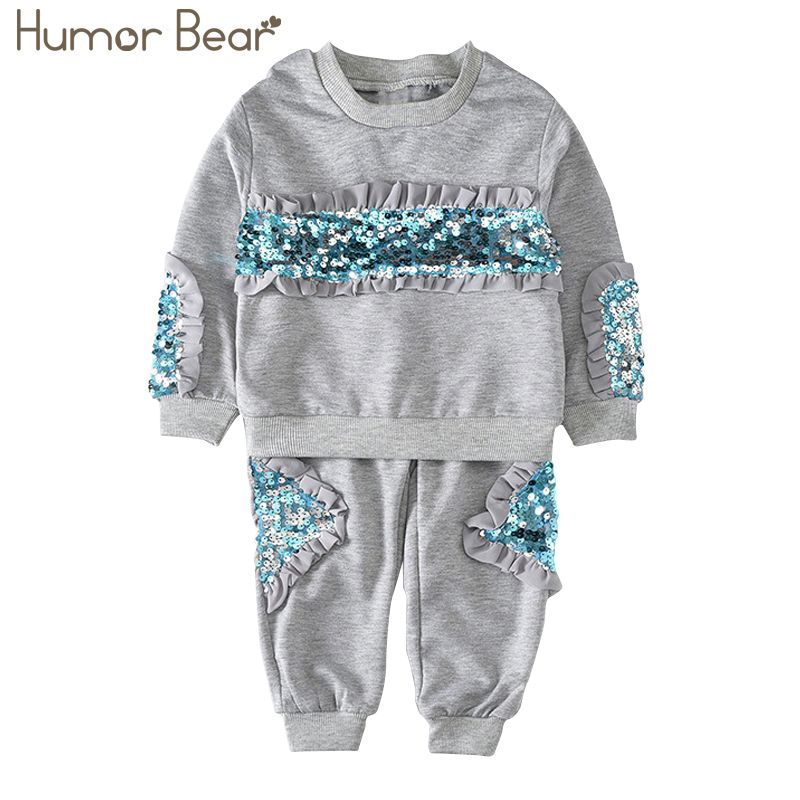 Humor Bear Girls Clothing Sets New Autunm Sets Children Clothing Sequins Design Coat+Pants Kids Suit For 3-7Y