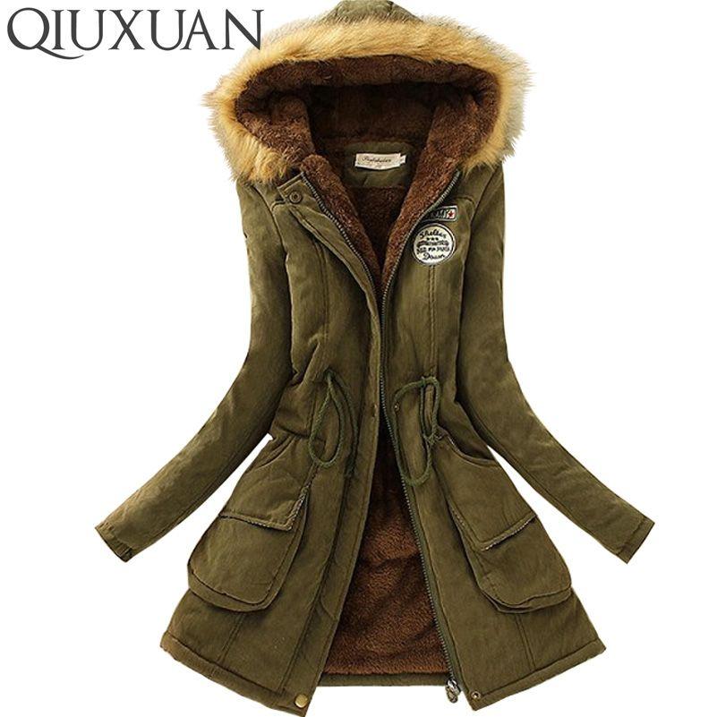 QIUXUAN Women Parka Fashion Autumn Winter Warm Jackets Women Fur Collar Coats Long Parkas Hoodies Office Lady Cotton Plus Size