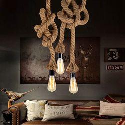 Vintage Corde de Chanvre Pendentif Lumière AC90-260V E27 Loft Creative Personnalité Industrielle Pendentif Lampe pour Restaurant Café Bar