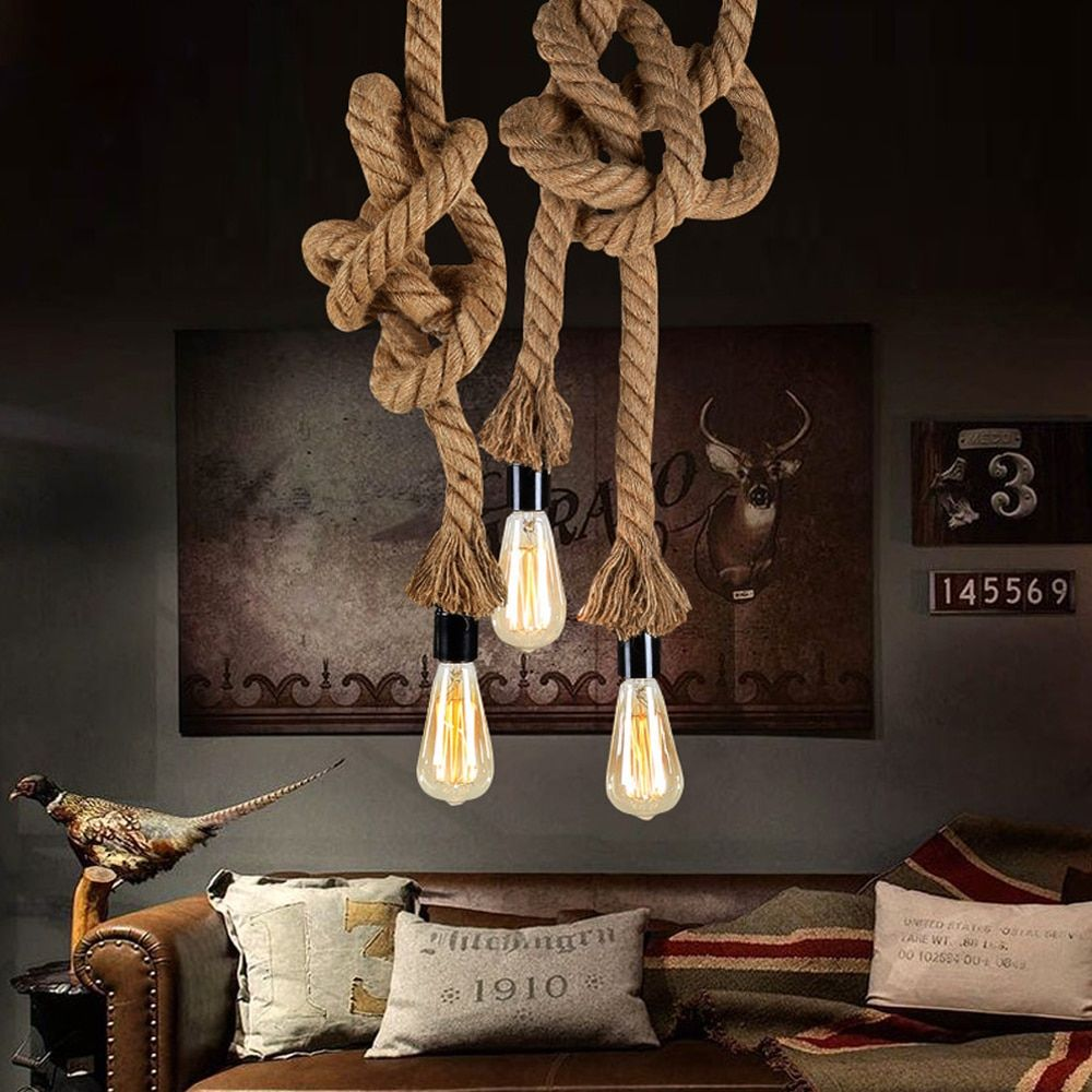 Vintage Hemp Rope Pendant Light AC90-260V E27 Loft Creative Personality Industrial Pendant Lamp for Restaurant Coffee Bar
