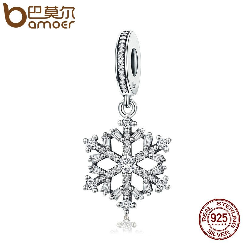 BAMOER Hot Sale Genuine 925 Sterling Silver Sparkling CZ Snowflake Dangle Charm fit Women Charm Bracelet Jewelry SCC266