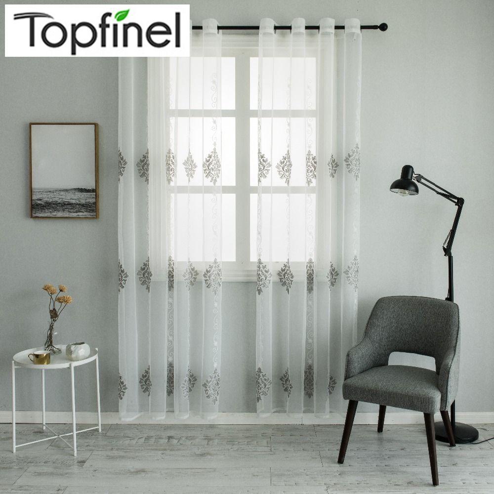 Topfinel Luxus Tüll für Fenster Vorhänge Jacquard Bestickt Voile Sheer Vorhänge Tüll für Wohnzimmer das Schlafzimmer Küche