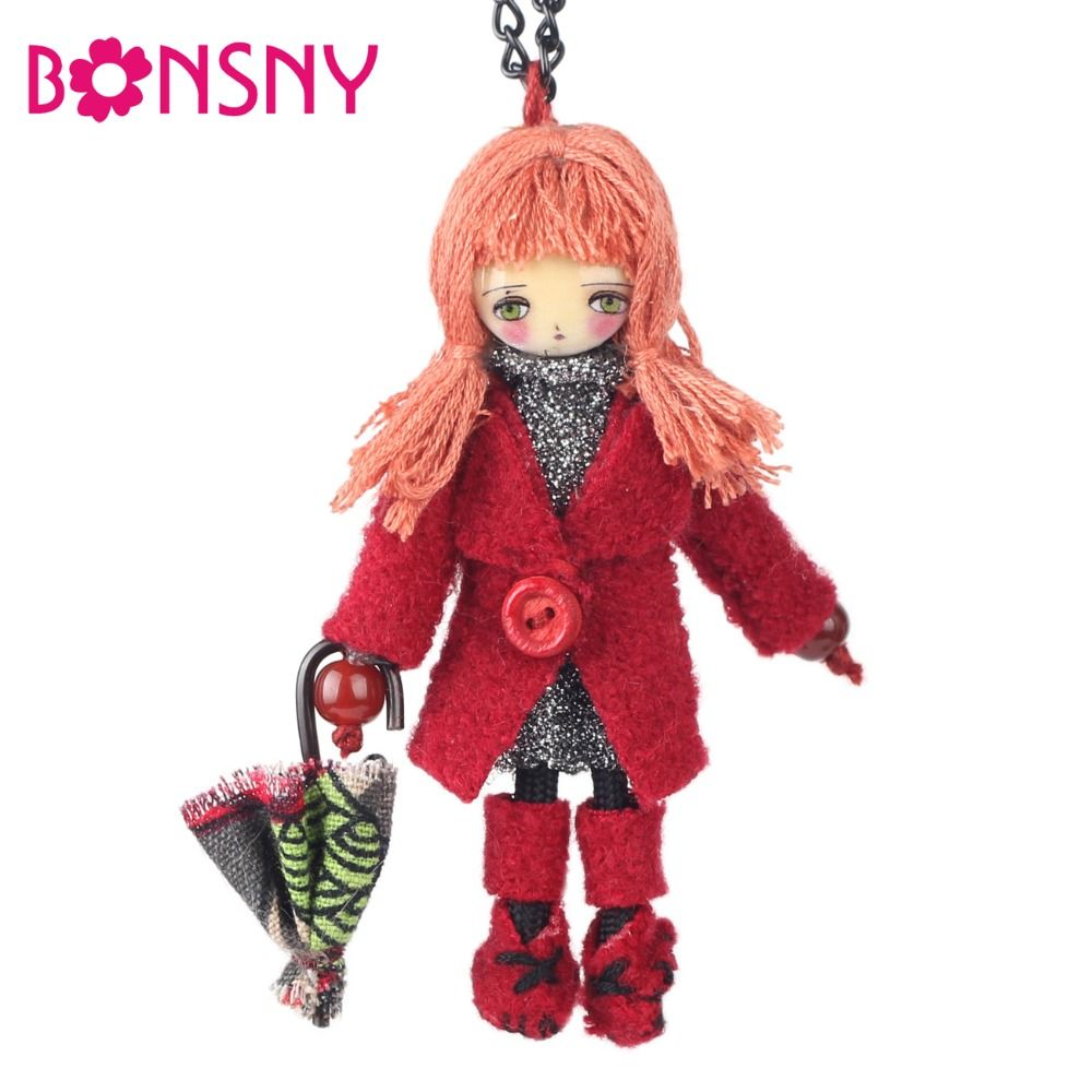Bonsny Winter Handmade Cloths French Paris Doll Necklace Long Chain Statement Pendant 2017 News Choker Russia Girls Women