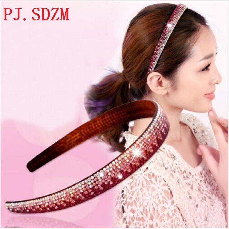 Crystal Headbands Fashion Women All Match Rhinestone Hairbands Woman Gradient Color Hair Accessory Headwear Birthday Gift FG0186