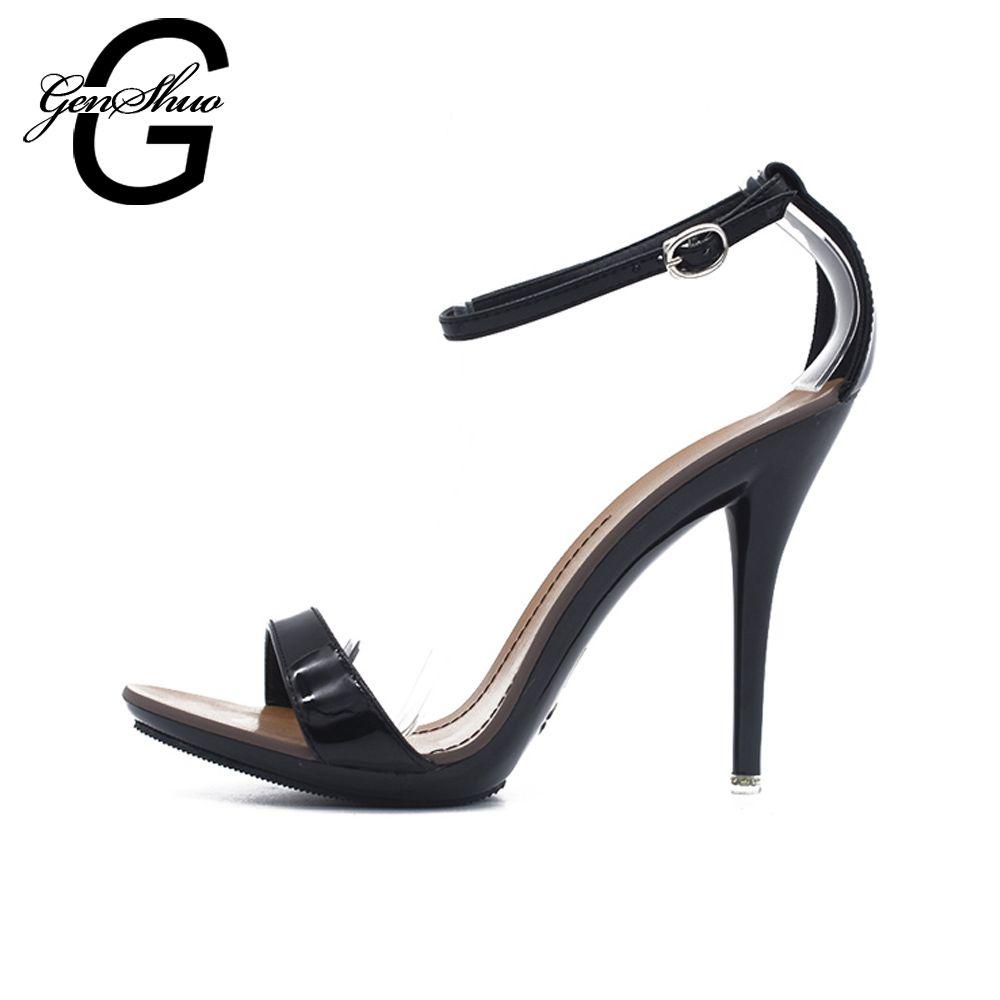 GENSHUO femmes sandales Sexy à talons hauts sandales dames chaussures avec talons mode contrat couleur bonbon Sexy Peep Toe danse sandales