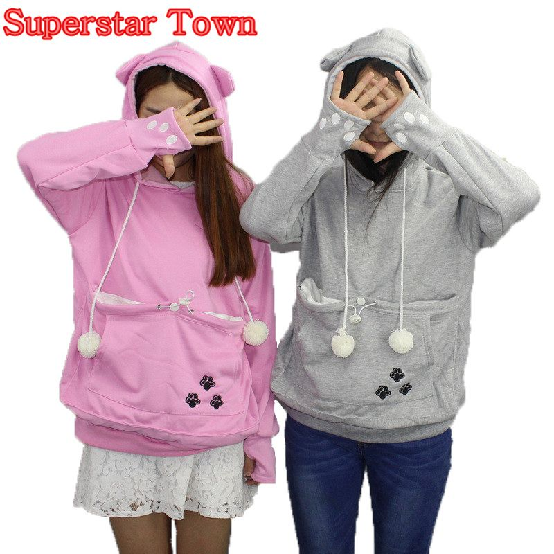 Cat <font><b>Lovers</b></font> Hoodies With Cuddle Pouch Dog Pet Hoodies For Casual Kangaroo Pullovers With Ears Sweatshirt 4XL Drop Shipping