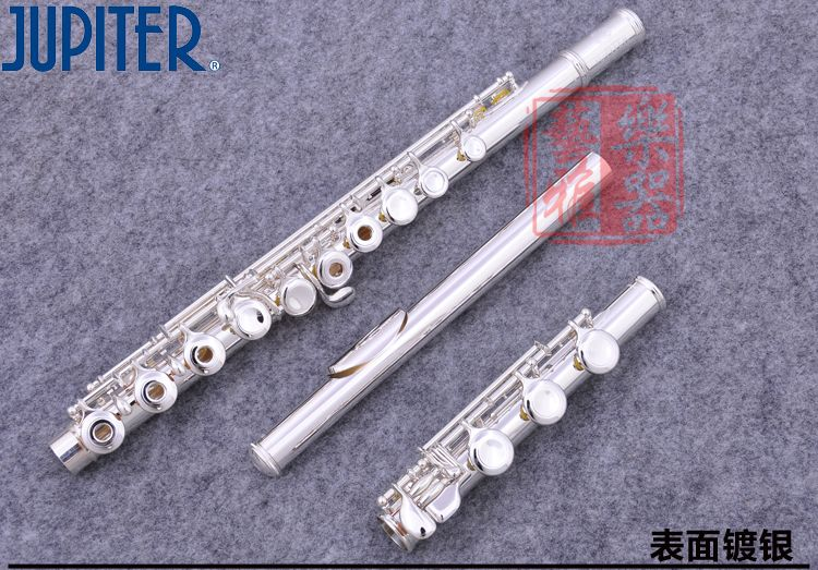 JFL-711 RBES 17 Holes Open C Key Flute Cupronickel Silver Plated Concert Flute Case Cleaning Cloth Stick Gloves Padded Bag