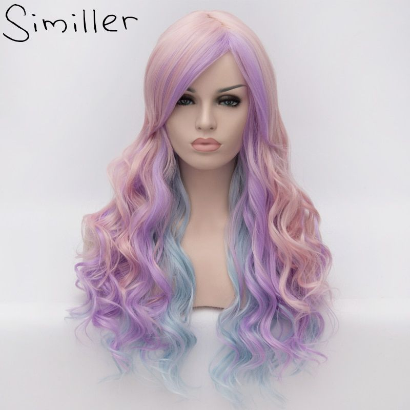 Similler Long Curly Girls Ombre Hair Cosplay Costume Party Synthetic Wigs Purple Blue Pink Highlight Mixed Colors 3 Tones