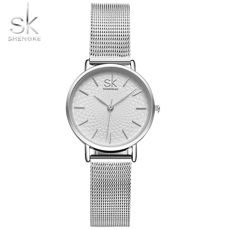 SK Super Slim Silver Mesh Stainless Steel Watches Women Top Brand Luxury Casual Clock Ladies Wrist Watch Lady Relogio Feminino