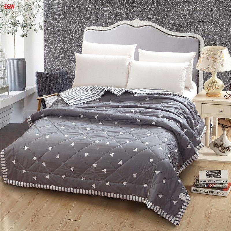 Accueil textile gris géométrique D'été couette noir et blanc étoiles patchwork throw canapé-lit 150*200 cm 200*230 cm plein reine couvre-lit
