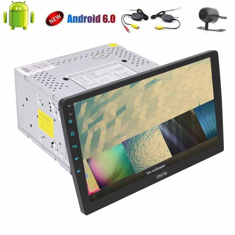 Wireless camera+Quad Core 10.1'' Android 6.0 Double Din Stereo Audio headunit 2 din car radio no DVD player support FM Bluetooth