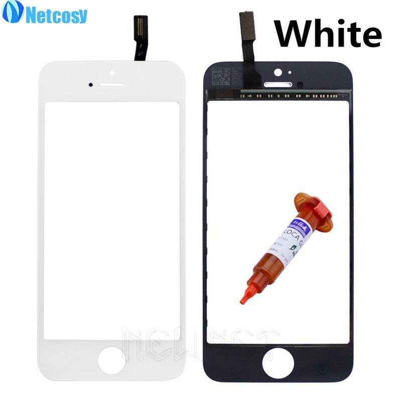 Netcosy Für iPhone 4 4G 4 S 5G 5 S 5C Frontglas objektiv + Touchscreen Digitizer Verkleidungs-objektiv Reparatur Für Apple + 5 ML UV Kleber Touchscreen