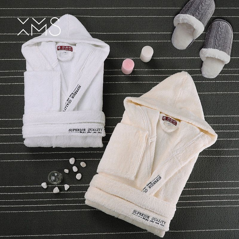 XMS Brand 2018 Winter Cotton Soft Bathrobe With Hooded Male's Nightgown Home Clothes Warm Bathrobe Dressing Robe For Men