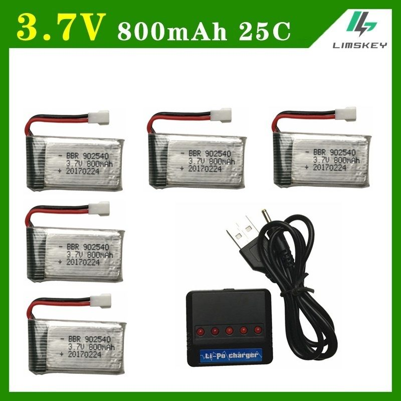 Limskey 800mAh 3.7V 25c Battery+(5-in-1)USB Charger sets for SYMA X5S X5HW X5HC RC Droen Qaudcopter Spare Battery Parts 3.7 v
