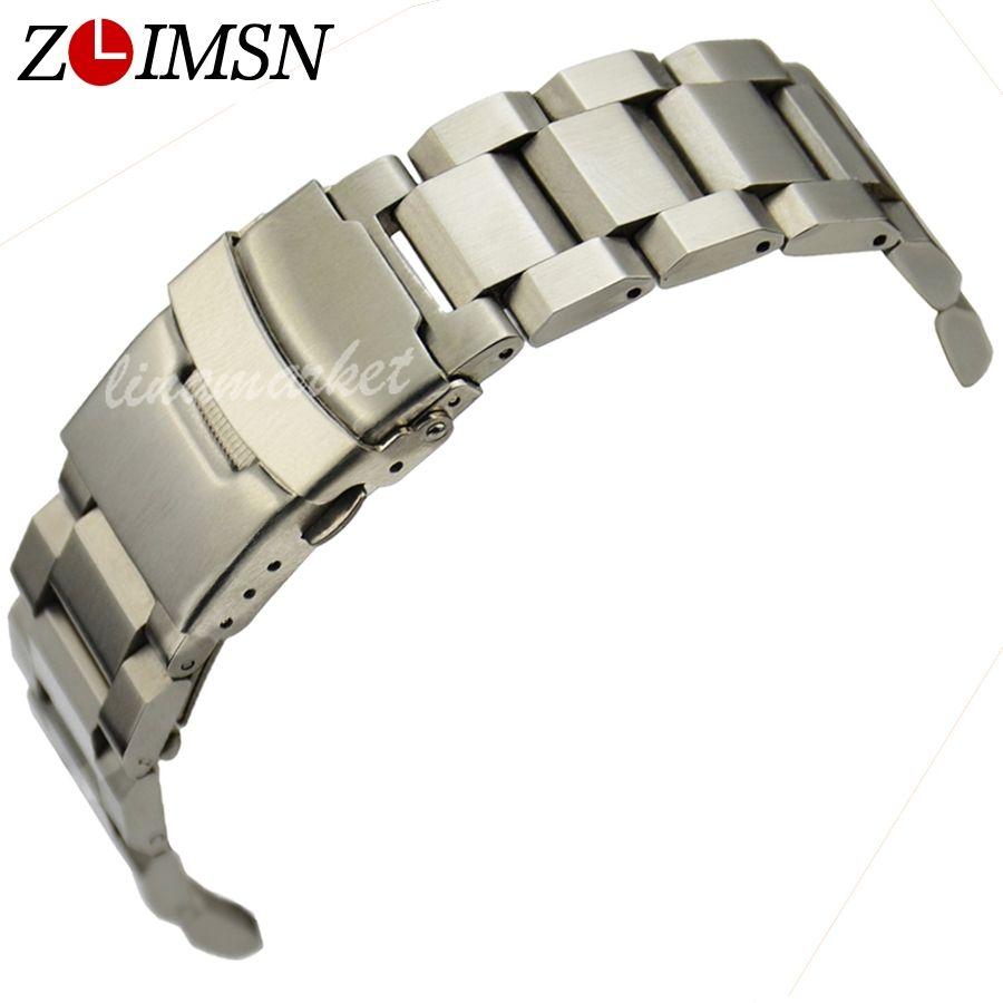 ZLIMSN Bracelet en argent solide en acier inoxydable Bracelet de montre 18 20 22 24mm de luxe militaire en métal bande de remplacement Relogio Feminino S15