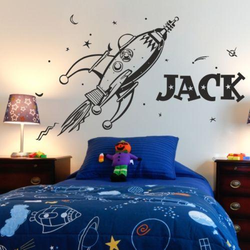 D0055 espace rétro fusée planètes sticker Mural pour enfants chambre décoration art vinyle personnalisé nom personnalité sticker Mural