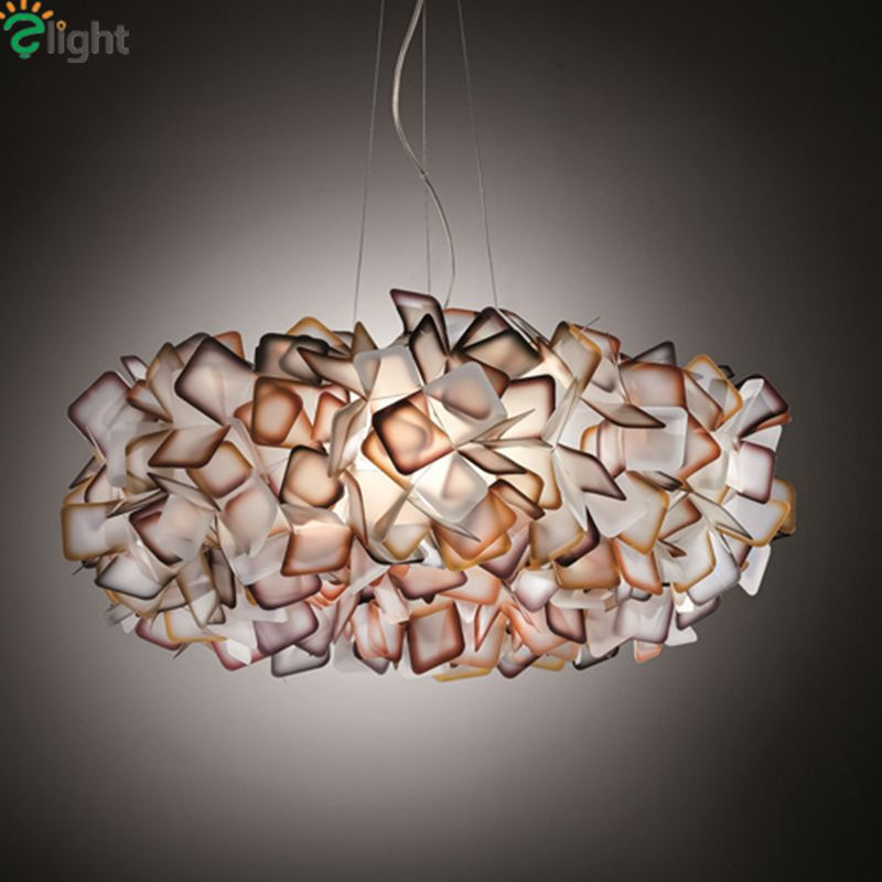 New Design Clizia Suspension Lamp Handcraft Colorful Gradient Acrylic Flower Led Pendant Light Bedroom Dining Room Hanging Light