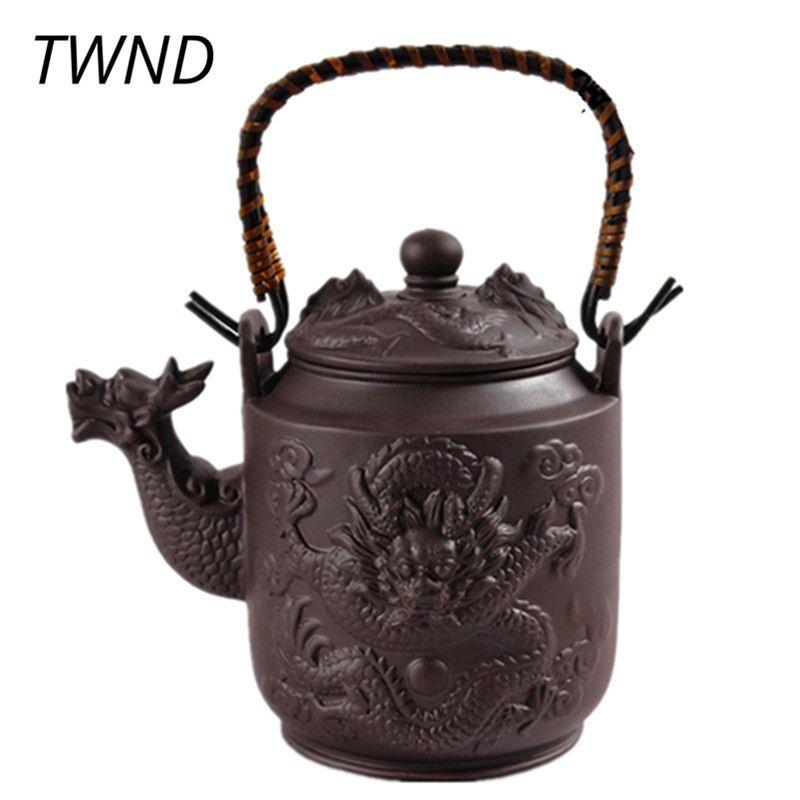 Théière en argile violette 780ML Dragon Yixing théière avec poignée Zisha bouilloire Kung Fu Drinkware grande capacité costume Puer Tie Guanyin